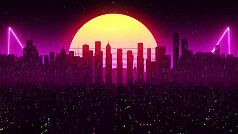 retrowave city moon  wallpaper
