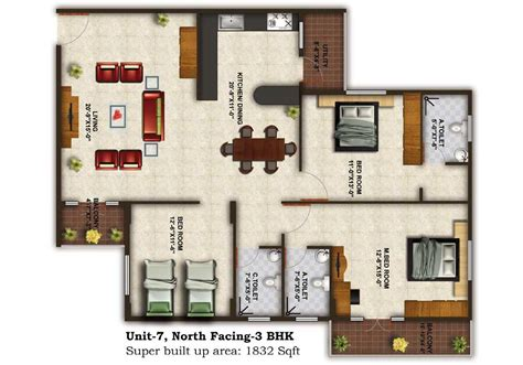 3bhk house plans tranquil heights floor plan