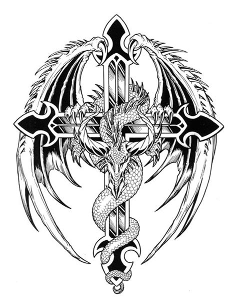 cross with dragon tattoo and cross designs pictures to pin on