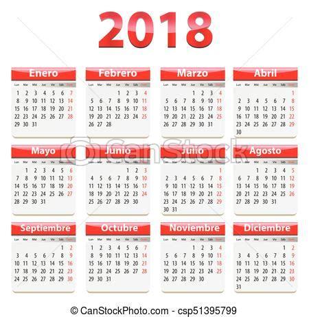 Calendario 2018 Español Calendario 2018 Espa 241 Ol Espa 241 Ol Language Ilustraci 243 N