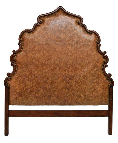 leather and wood headboard tooled leather scrolled wood headboard luxury estates