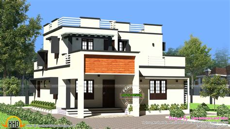 flat home design 1900 sq ft modern flat roof house kerala home design and