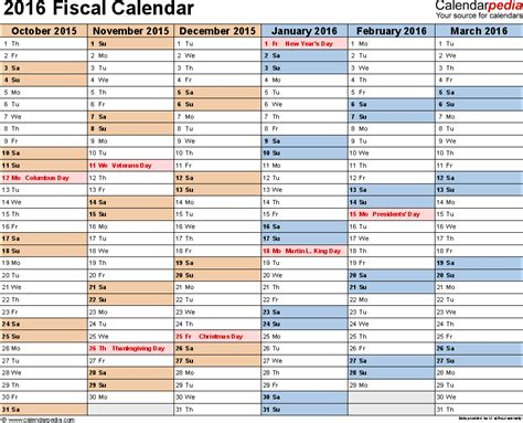 Fiscal calendars 2016 as free printable Excel templates