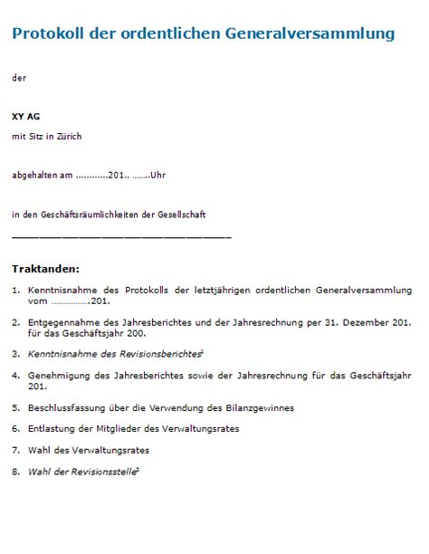 Muster Protokoll Protokoll Generalversammlung Muster Zum