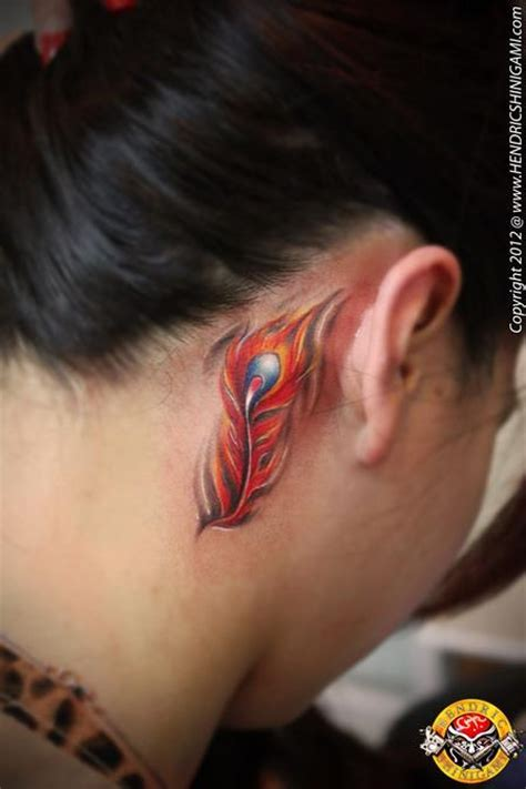 phoenix feather tattoo design behind ear tattoobite com