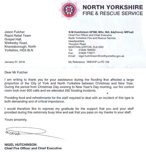 Thank You Letter During Rrt Support For Emergency Services And Army During January Floods In York
