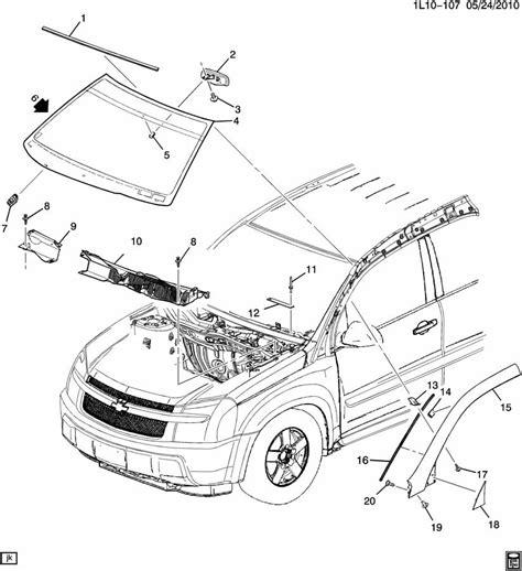 2005 chevy equinox parts diagram 2005 chevrolet equinox windshield trim hardware