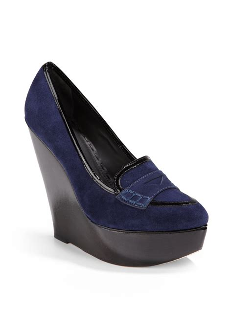 loafer wedge suede platform wedge loafers in blue lyst
