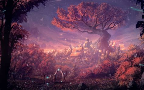 fantasy forest city hd  wallpaper