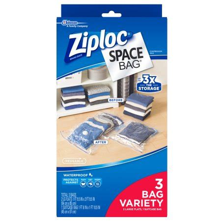 ziploc space bag 3 count variety pack 2 large flat bags
