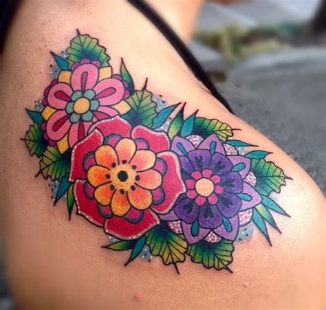 17 best ideas about bright flower tattoos on pinterest