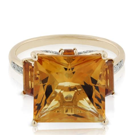 princess cut citrine three ring 14k ben