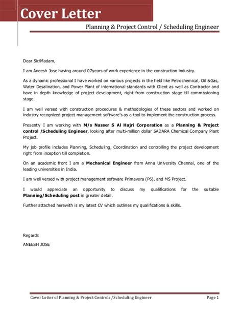 Senior Mechanical Engineer Cover Letter by Resume Cover Letter For Aneesh Jose