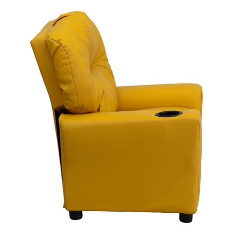 Yellow Recliner by Yellow Vinyl Recliner With Cup Holder Bt