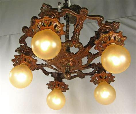 cast iron light fixtures chandelier vintage deco cast iron polychrome ceiling