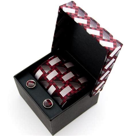Tie Set by Silver Burgundy Patterned Silk Tie Cufflinks Gift