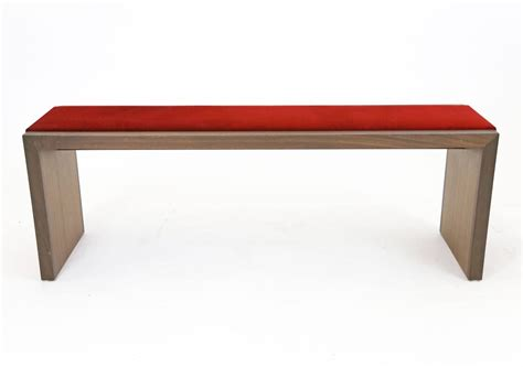 Sentient Furniture by Sentient Walnut Bench With Velvet Upholstery For Sale At 1stdibs