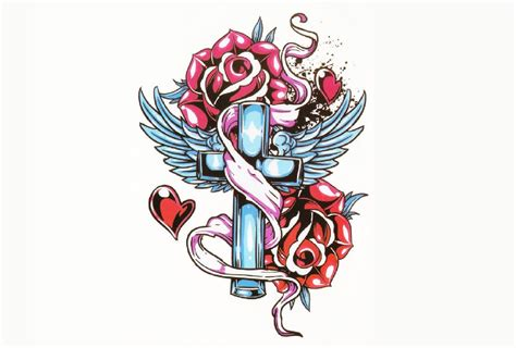 temporary tattoo rose ramones cross roses temporary sleeves