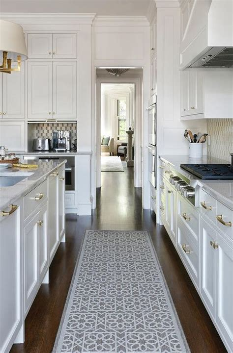 Grey And White Kitchen Rugs Small Kitchen Appliances Garage With Tiled Backsplash Transitional Kitchen