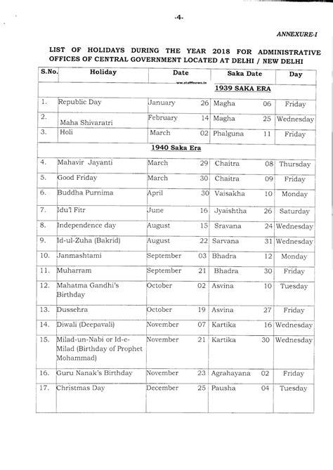 Calendar 2018 Dopt All India Association Of Inspectors Asst Supdt Posts