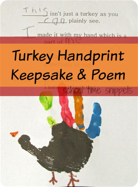 printable turkey handprint poem turkey handprint keepsake poem school time snippets