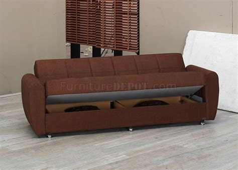 modern convertible sofa bed brown fabric modern convertible sofa bed w storage space