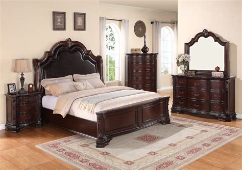 dark cherry bedroom furniture crown mark furniture sheffield upholstered bedroom set in