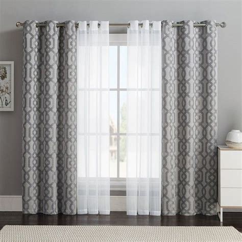 curtain decor vcny 4 pack barcelona double layer curtain set gray 32