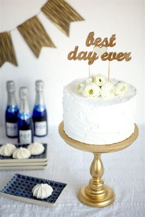 The Whimsical Wedding Cake Topper   Best Day Ever   Gold