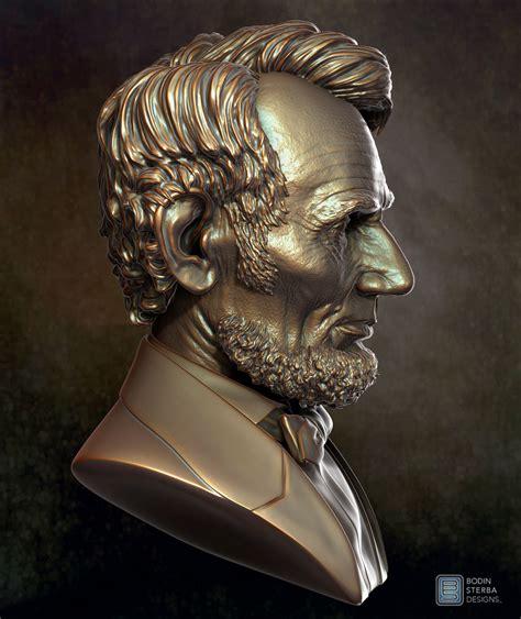 3d Design Website abe lincoln bust sculpt profile view bodin sterba design
