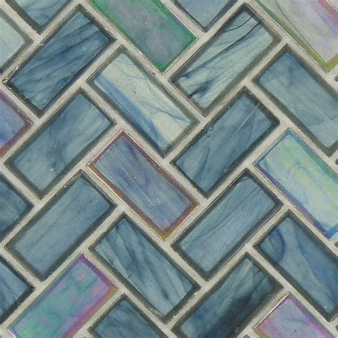 herringbone blue glass herringbone tile glossy iridescent ocs 182