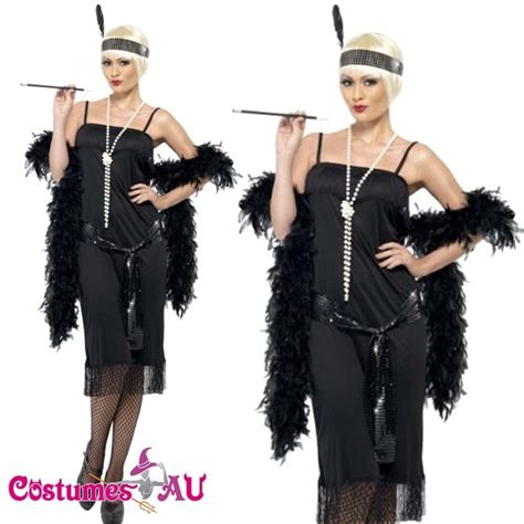 woman fashion mid 20s ladies 1920s 20s black flapper costume charleston gatsby