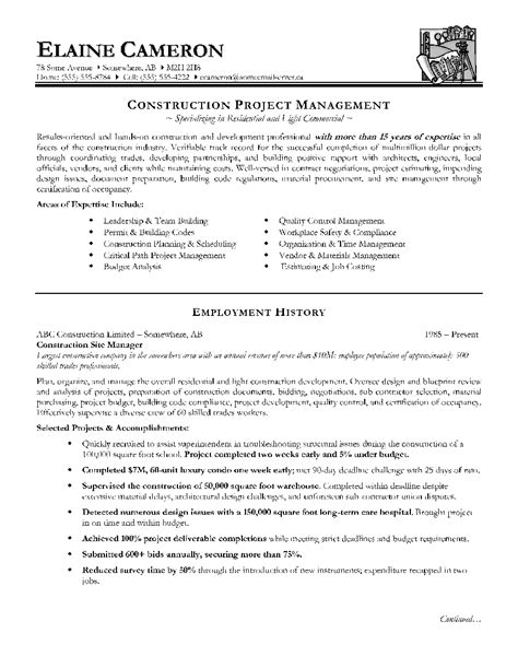 Resume Exles Construction Industry Construction Project Manager Resume Sle Employment History