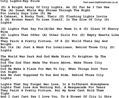 country city lights price lyrics and chords