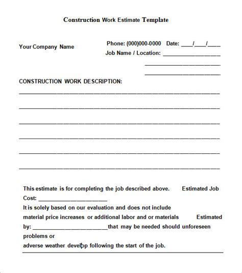 contractor estimate templates 6 work estimate templates free word excel formats