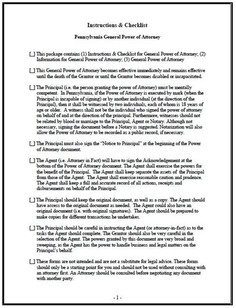 Free General Power Of Attorney Pennsylvania Form Adobe Pdf General Power Of Attorney Template