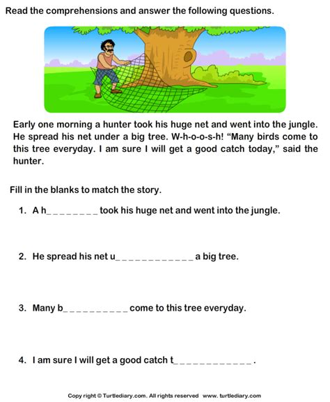 printable english comprehension worksheets for grade 1 reading comprehension stories worksheet 21 turtle diary