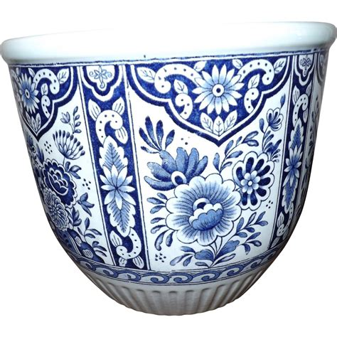 large delfts cobalt blue m24 planter jardiniere by boch