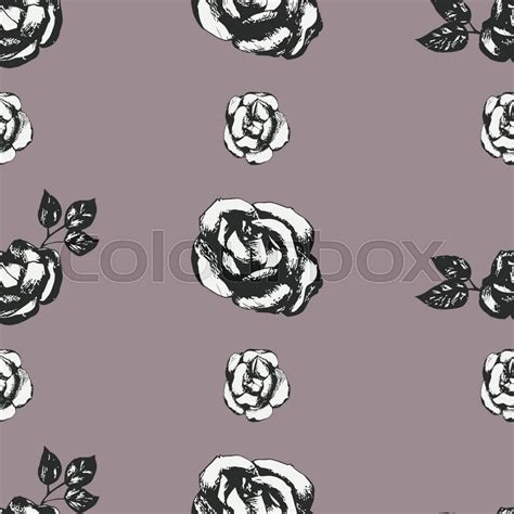 black and white rose pattern vintage black and white roses seamless pattern stock
