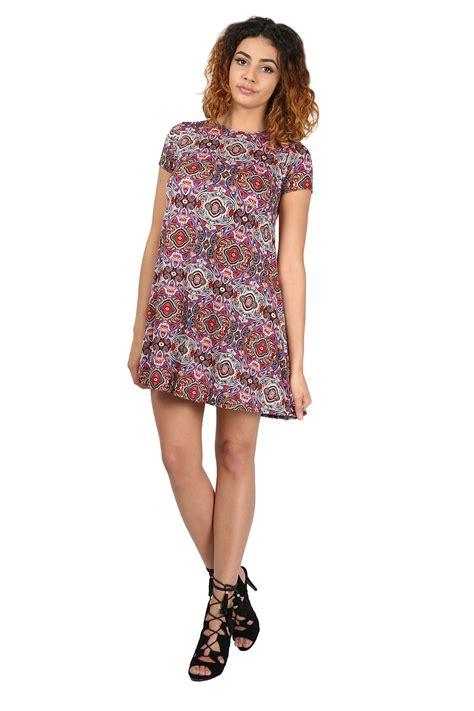 plus size swing tunic womens ladies printed summer short sleeve flared tunic