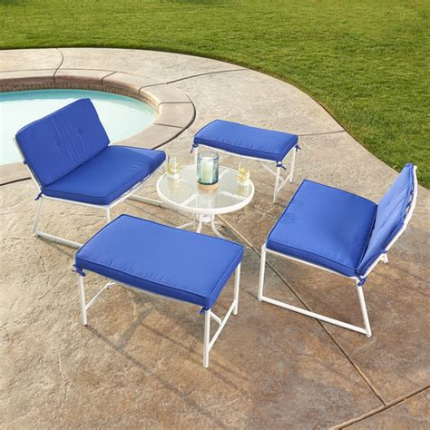 5 piece fabric patio set outdoor garden sofa set blue