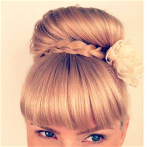 buns with braiding hair and bang braided bun with bangs hairstyles tip junkie