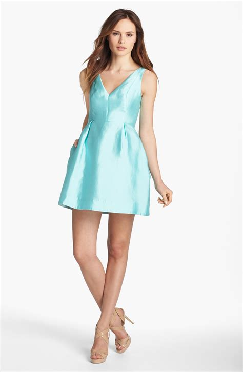 kate spade kate spade susannah silk blend fit flare dress in blue sea glass lyst