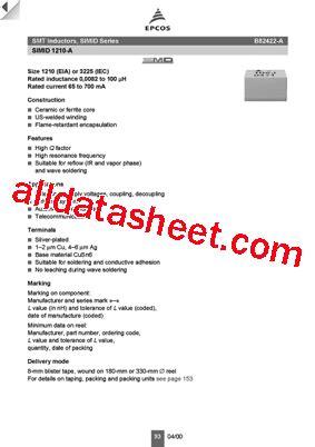 transistor a1273 datasheet b82422 a1273 datasheet pdf epcos