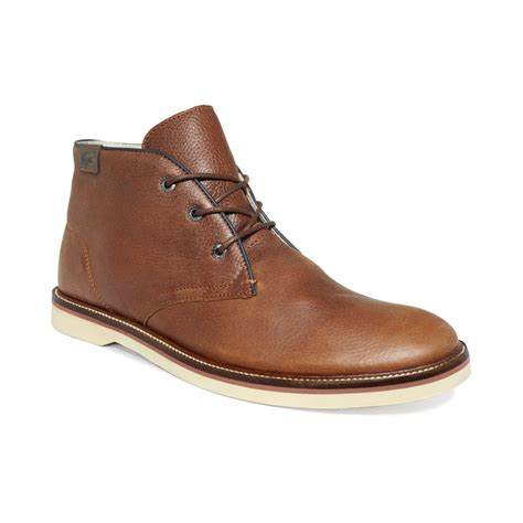 lacoste sherbrooke hi boots in brown for lyst