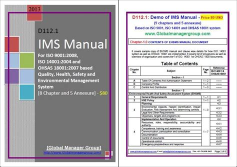 Ims Manual Eqhsms Manual Integrated Management System Manual Manager Manual Template