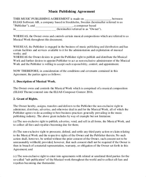 6 Music Agreement Contract Sles Sle Templates Publishing Agreement Template
