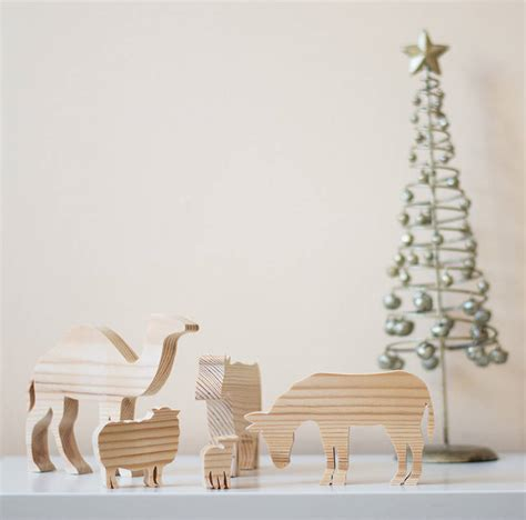 wooden nativity animal ornaments by wendover wood
