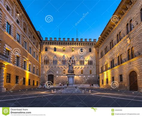 Tuscan Houses square in old city centre of siena italy stock photo