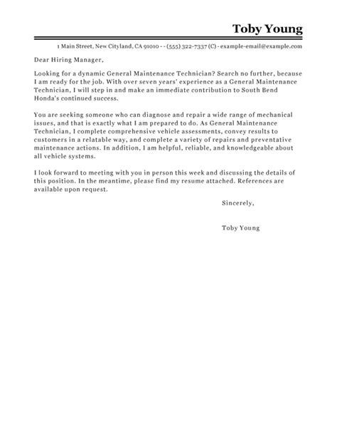 basic general maintenance technician cover letter samples